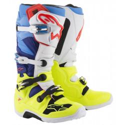 Bottes Alpinestars Tech 7 Yellow Fluo/Blanc/Blue/ Cyan 7 (40.5)