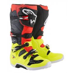 Bottes Alpinestars Tech 7 Yellow Fluo/Rouge Fluo/Gris/Noir 7 (40.5)