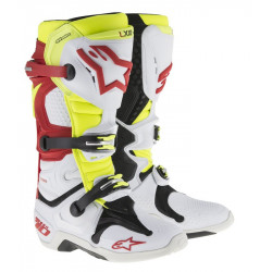 Bottes Alpinestars Tech 10 Blanc Rouge Yellow 12 (47)