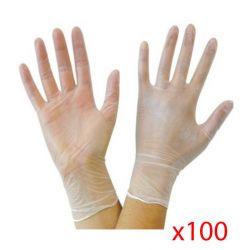 Boite de gants en vinyl par 100 sans poudre et transparent.