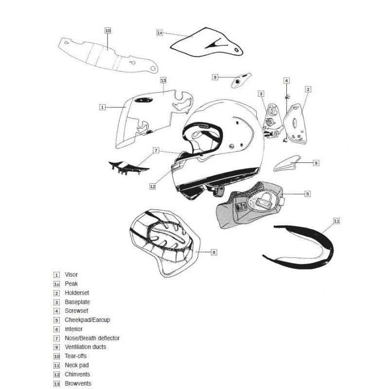 Coiffe CHASER-X ARAI casque intégral 7mm