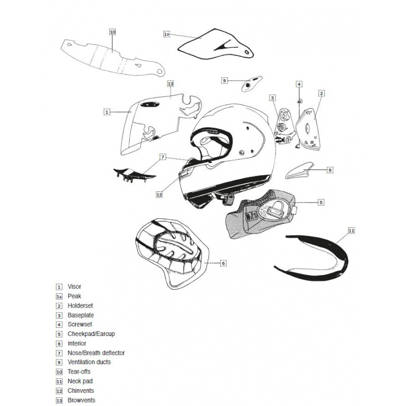 Coiffe CHASER-X ARAI casque intégral 5mm