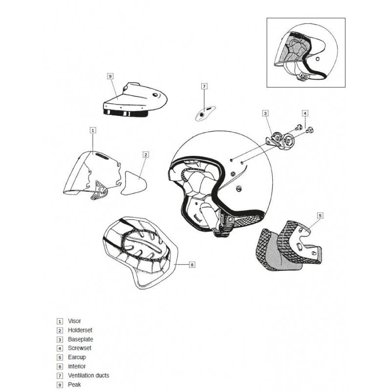 Coussin joue SZ-LIGHT ARAI casque jet clair 25mm