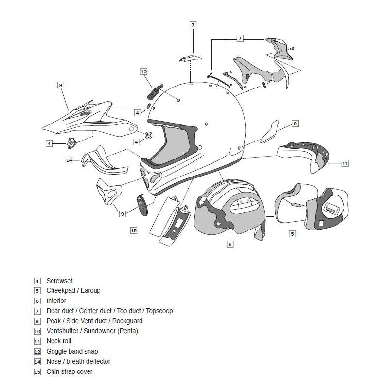 Grille ventilation ARAI casque off-road Tickle Green