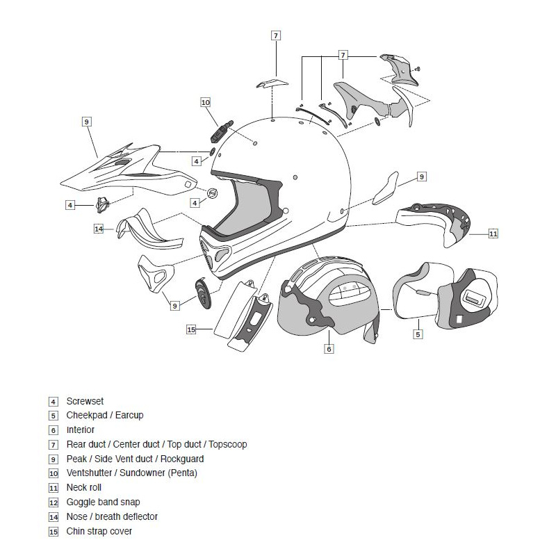 Grille ventilation ARAI casque off-road Tickle Blue