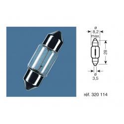 BOITE 10 AMPOULES 12V-3W / NAVETTES CULOT SV7-8