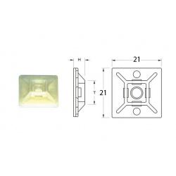Attaches adhésives BIHR blanches 21x21mm pour collier nylon