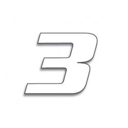 Numéro de course 3 BLACKBIRD 20x25cm blanc
