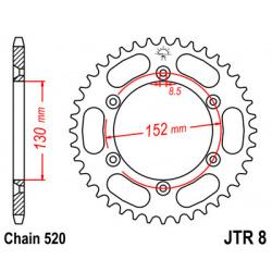 Couronne JT SPROCKETS 48 dents acier pas 520 type 8