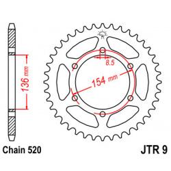 Couronne JT SPROCKETS 47 dents acier pas 520 type 9