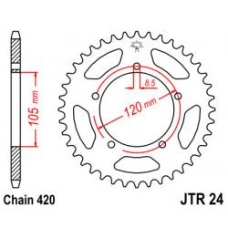 Couronne JT SPROCKETS 50 dents acier pas 420 type 24 Yamaha DT50RM