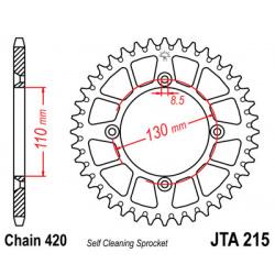 Couronne JT SPROCKETS 49 dents alu ultra-light anti-boue pas 420 type 215 Honda CR80R/CR85R
