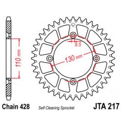 Couronne JT SPROCKETS 49 dents alu ultra-light anti-boue pas 428 type 217 Honda CR80R/CR85R