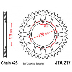Couronne JT SPROCKETS 55 dents alu ultra-light anti-boue pas 428 type 217 Honda CR80R/CR85R