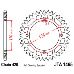 Couronne JT SPROCKETS 46 dents alu ultra-light anti-boue pas 420 type 1465 Kawasaki KX65