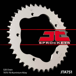 Couronne JT SPROCKETS 38 dents alu ultra-light anti-boue pas 520 type 751