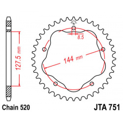 Couronne JT SPROCKETS 42 dents alu ultra-light anti-boue pas 520 type 751