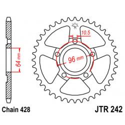 Couronne JT SPROCKETS 53 dents acier pas 428 type 242