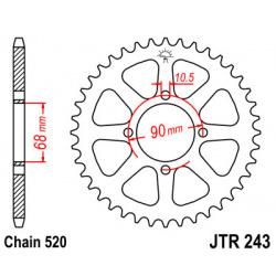 Couronne JT SPROCKETS 42 dents acier pas 520 type 243