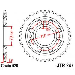 Couronne JT SPROCKETS 36 dents acier pas 520 type 247