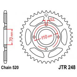 Couronne JT SPROCKETS 44 dents acier pas 520 type 248