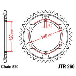 Couronne JT SPROCKETS 38 dents acier pas 520 type 260