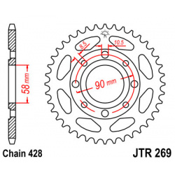 Couronne JT SPROCKETS 36 dents acier pas 428 type 269