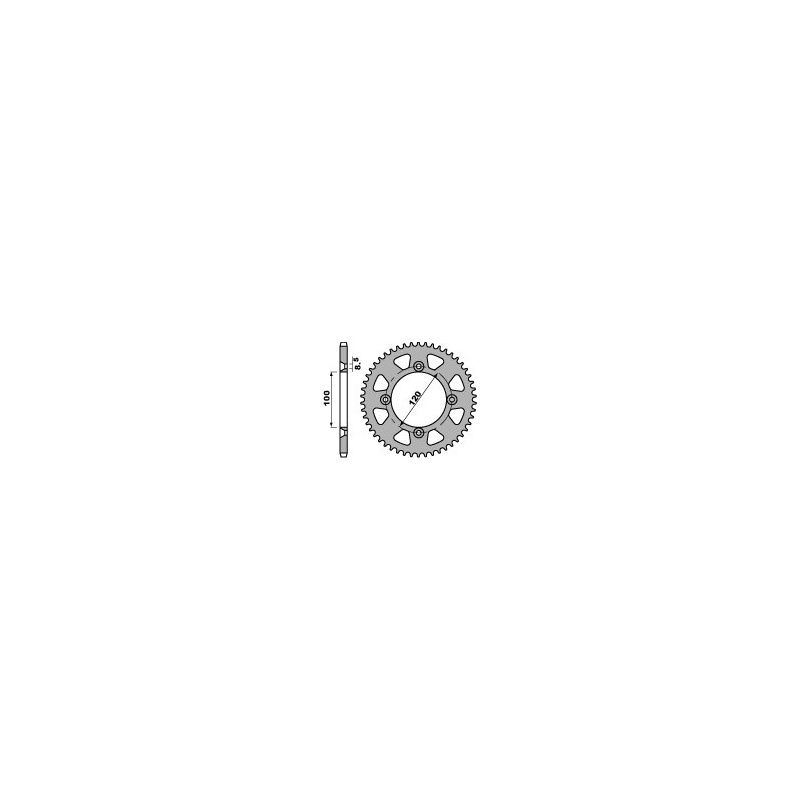 Couronne acier PBR 48 dents chaîne 428 Suzuki RM 80/85
