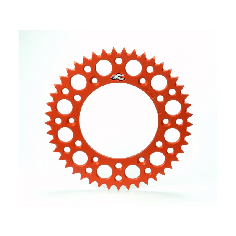 Couronne RENTHAL Ultralight™ 47 dents alu anti-boue pas 520 type 224U anodisé orange KTM