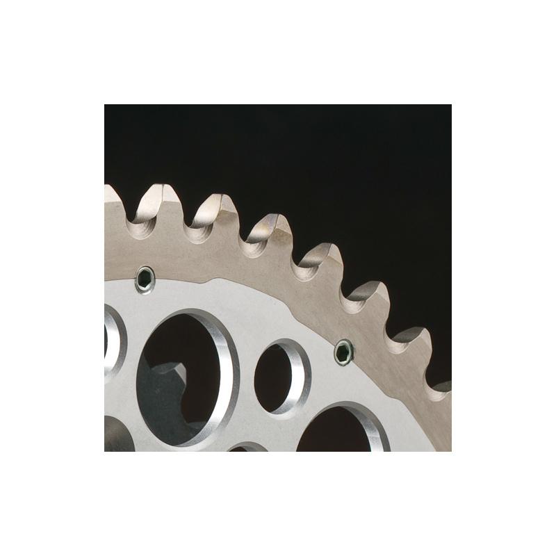 Couronne RENTHAL Twinring® 49-dents Ultra-light anti-boue anodisé dur noir Suzuki