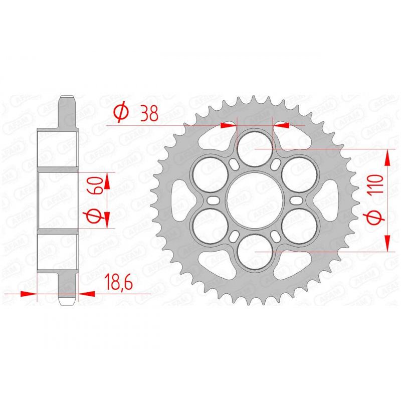 Couronne AFAM 39 dents acier pas 525 type 50801 Ducati