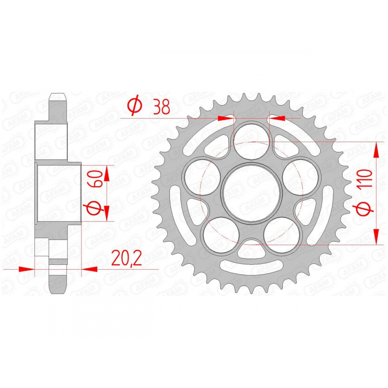Couronne AFAM 42 dents acier pas 525 type 50800 Ducati