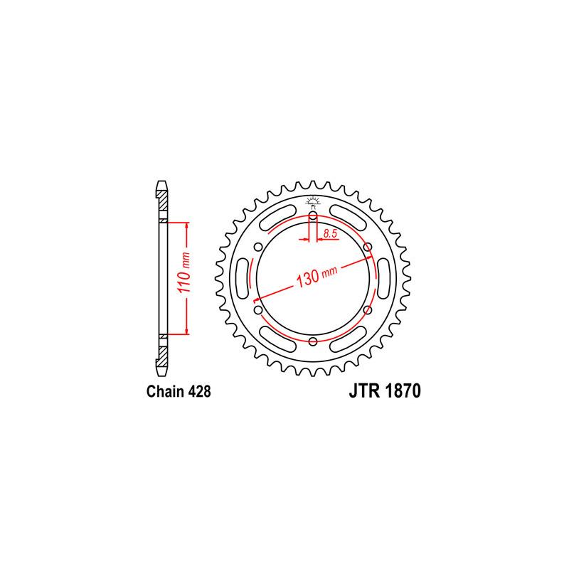 Couronne JT SPROCKETS 44 dents acier pas 428 type 1870