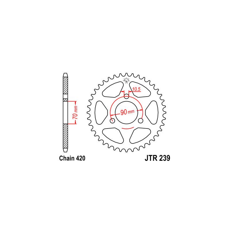 Couronne JT SPROCKETS 42 dents acier pas 420 type 239