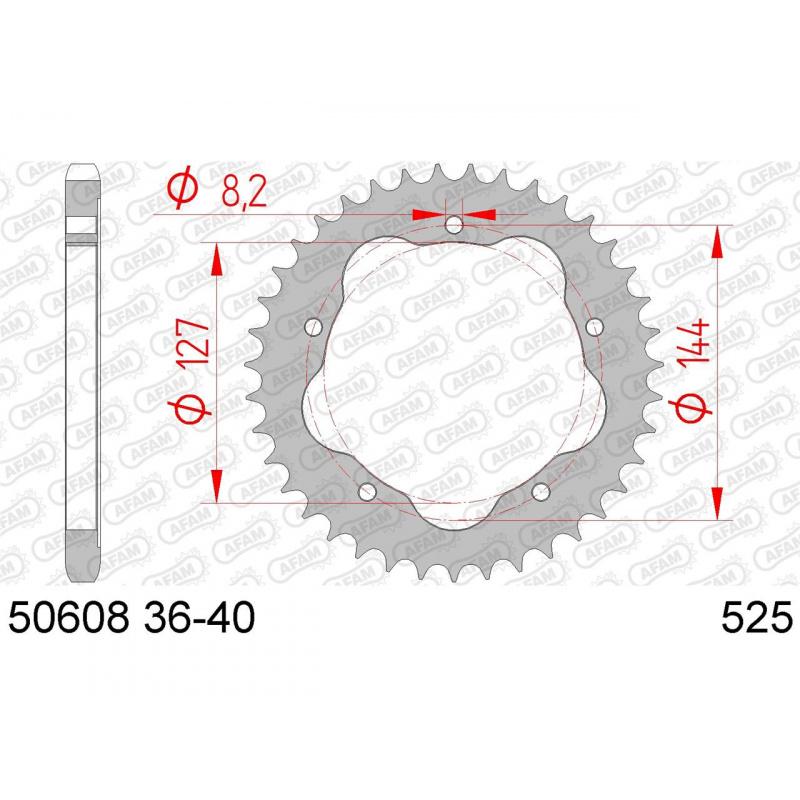 Couronne AFAM 43 dents acier pas 525 type 50608K Ducati 998 Monster S4R