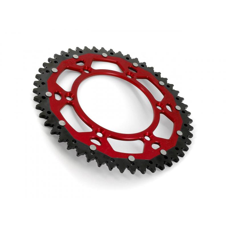 Couronne ART Bi-composant 52 dents Aluminium ultra-light anti-boue pas 520 rouge