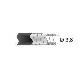 Gaine de frein 38/10 TRANSFIL fil plat noir rouleau 15m