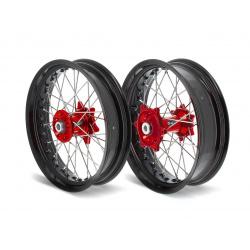 Kit roues complètes avant + arrière ART SM 17x3,50/17x4,50 jante noir/moyeu rouge Honda