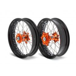 Kit roues complètes avant + arrière ART SM 17x3,50/17x5,00 jante noir/moyeu orange KTM