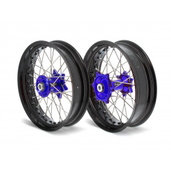 Kit roues complètes avant + arrière ART SM 17x3,50/17x4,50 jante noir/moyeu bleu Yamaha