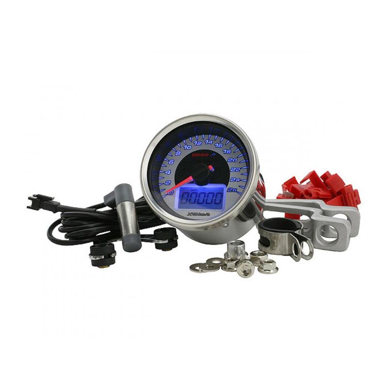 Compteur de vitesse KOSO D64 GP Style Universel chromé (260 km/h)