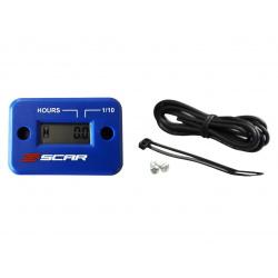 Compteur d'heures SCAR filaire avec Velcro bleu