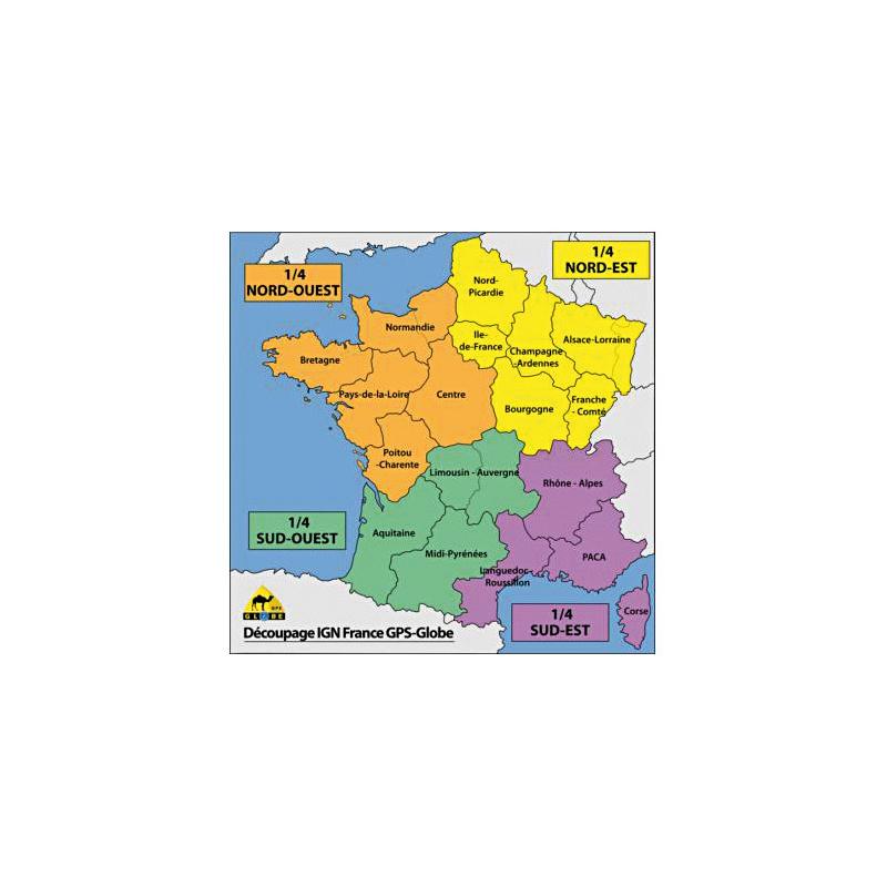 Carte IGN GPS Globe 1/4 France sud-est 1/25000e