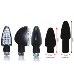 Clignotants BIHR Triangle LED court noir universel