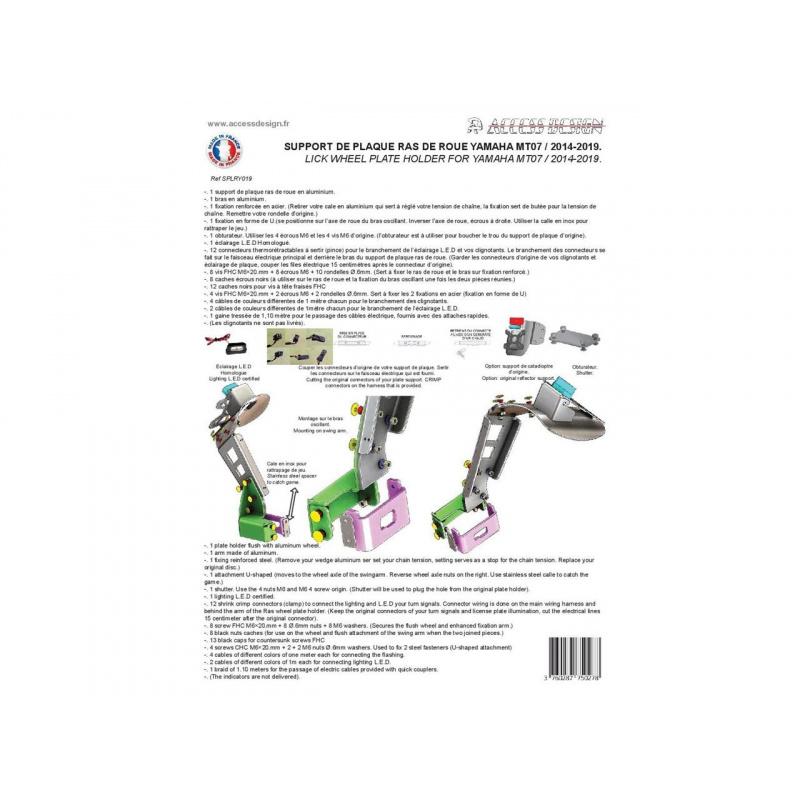 """Support de plaque ACCESS DESIGN déporté """"ras de roue"""" noir Yamaha MT-07"""