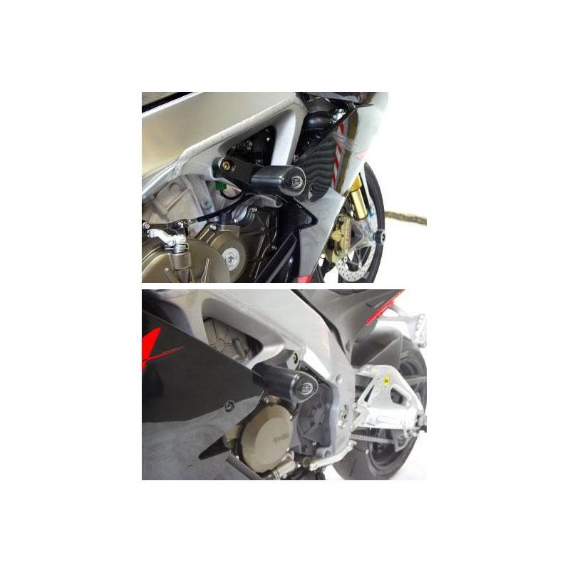 Tampons de protection R&G RACING Aero noir Aprilia RSV4 R/RR/RF/Factory