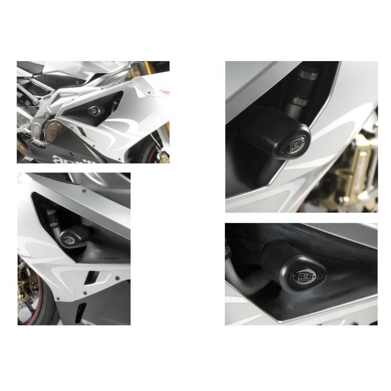 Tampons de protection R&G RACING Aero noir Aprilia RSV1000R/RSV4 Factory