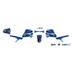 Kit plastiques ART couleur origine bleu avec selle complète noire + kit déco KUTVEK Racer bleu Yamaha PW50