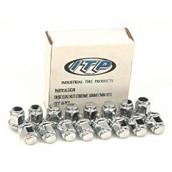 Kit écrou de roue ITP plat chrome 12/17mm - Box of 16