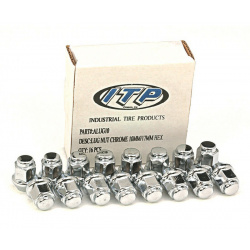 Kit écrou de roue ITP plat chrome 3/8-24 - Boîte de 16